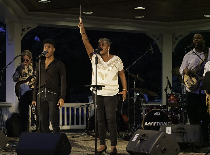 Mystique performs in the final Concert on the Common for the summer, August 27, 2019