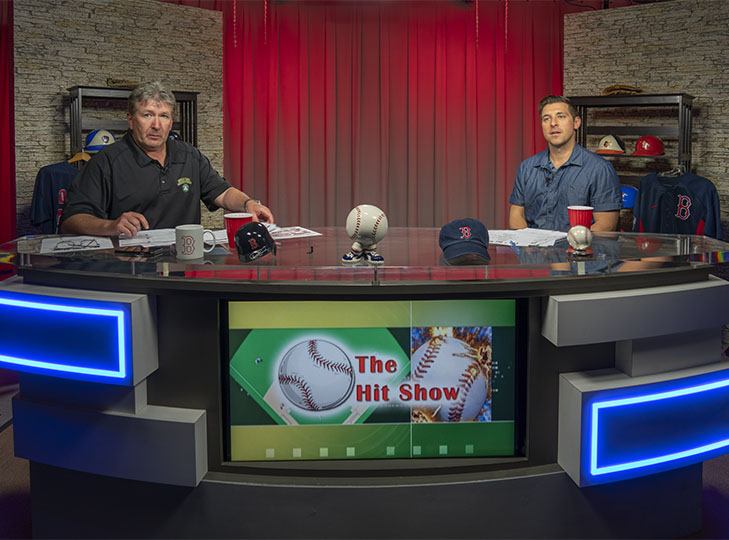 Phil McGrady and Brian Kelly on the Hit Show Set